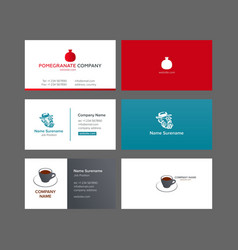 three business cards vector image