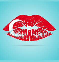 turkey flag lipstick on the lips isolated on a vector image