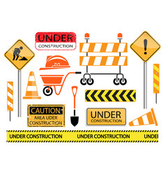 Under construction sign and icon set vector