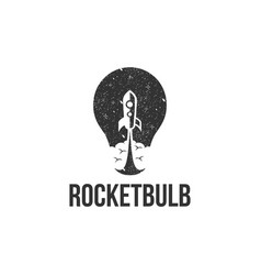 Vintage grungy lightbulb and rocket logo icon vector
