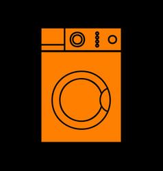 Washing machine sign orange icon on black vector