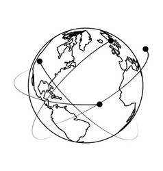 world map web globe cartoon in black and white vector image