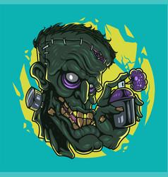 zombie head mascot logo design vector image