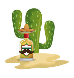 background cactus with bottle of tequila vector image vector image