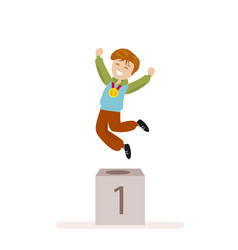 boy took first place in sports award ceremony vector image vector image