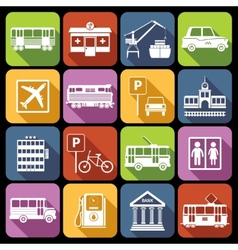 City infrastructure icons white vector image vector image