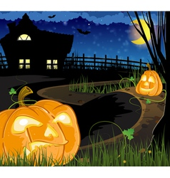 Jack o Lanterns on the path vector image vector image
