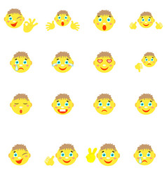 smilies boys with different emotions gesture vector image vector image