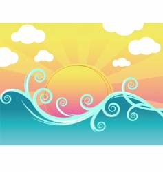sunset and waves vector image vector image