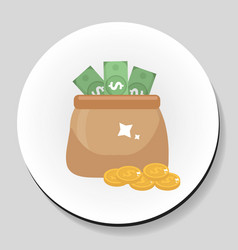 bag of money and coins sticker icon flat style vector image