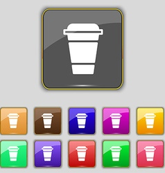 coffee icon sign Set with eleven colored buttons vector image