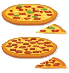 Pepperoni and margarita pizza vector