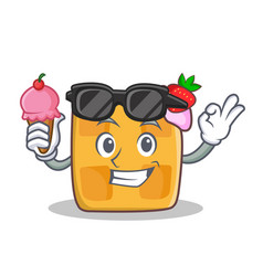 waffle character cartoon design with ice cream vector image
