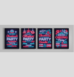 christmas party collection of invitation templates vector image