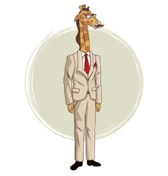 giraffe hipster style with beige suit red tie vector image