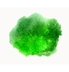 Green watercolor hand drawn stain isolated vector image