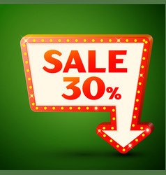 retro billboard with sale 30 percent discounts vector image vector image