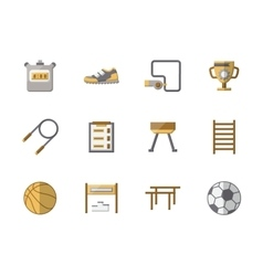 School sports equipment flat color icons vector image