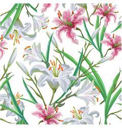 seamless pattern with flowers iris lily vector image vector image