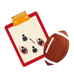table with sheet and football ball vector image