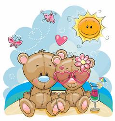 Two bears on the beach vector