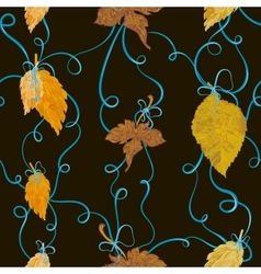 Autumn foliage tied with bows seamless backround vector