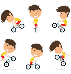 bmx bike rider boy bicycle activity cycling vector image