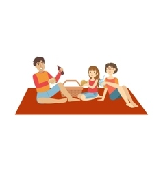 Family With Little Daughter On Picnic vector image