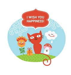 greeting card with cute animals vector image vector image