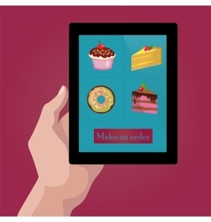 Online order sweets and cookies via internet vector image vector image