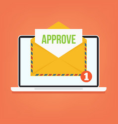 open envelop with approve email vector image vector image