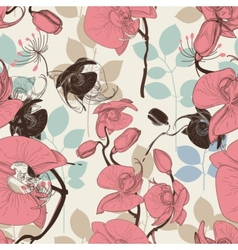 Retro pattern flower orchid vector image