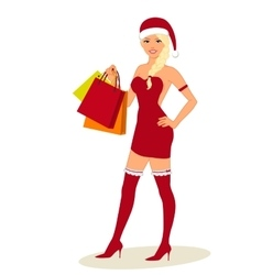 Sexy Woman In Santa Costume with shopping bags in vector image