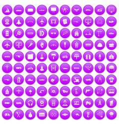 100 engineering icons set purple vector