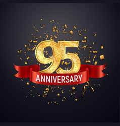 95 years anniversary logo template on dark vector image