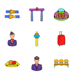 Aboard icons set cartoon style vector