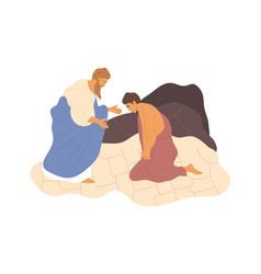 Abraham sacrificing his son vector