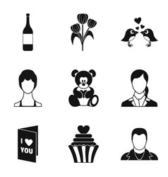 Amour icons set simple style vector
