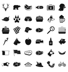 animal dog icons set simple style vector image