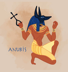 anubis in ancient egyptian god death vector image