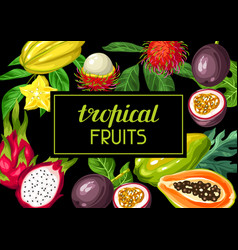 Background with exotic tropical fruits vector