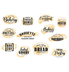 Bakery and pastry bread sketch lettering vector
