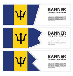 Barbados flag banners collection independence day vector