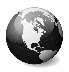 black earth globe focused on north america with vector image