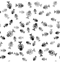 Black microphone icon isolated seamless pattern vector