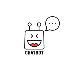 Black thin line happy chatbot icon on white vector