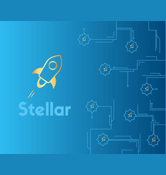 Blockchain stellar cryptocurrency technology style vector