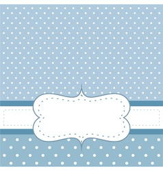 Blue card or invitation with white polka dots vector