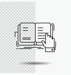 Book lesson study literature reading line icon on vector