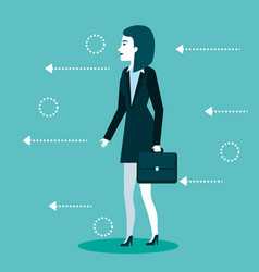 Businesswoman standing wearing suit and briefcase vector